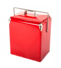 HIO 13 Qt. Retro-Style Steel Lunch Box Cooler with Handle, Red