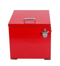 HIO 24 Qt. Retro-Style Steel Cooler Box with Bottle Opener, Red