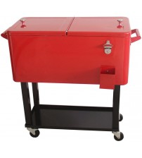 HIO 73 Qt Outdoor Patio Cooler Table On Wheels, Rolling Cooler With Shelf, Red