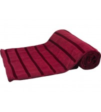 HS Coral Blanket Soft Bed Blanket, Satin Stripe, Twin Size, Red