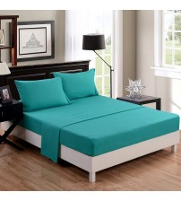 Honeymoon 1500T Solid Brushed Microfiber 3PC bed sheet set, Sheet & Pillowcase Sets - Twin, Turquoise