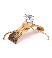 J.S. Hanger Durable Wooden Clothes Hangers Natural Finish with Soft Gray Non-slip Stripes - 10 Pack