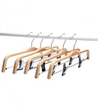 J.S. Hanger Light Wooden Hangers, Sturdy Wood Pants Hangers, Wooden Clothes Hangers with Anti-Rust Hooks and Clips, 5-Pack