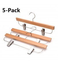 J.S. Hanger Pack of 5 Wooden Skirt/Pants Hangers, Beech wood Hangers for Trousers, Wooden Dresses Hanger, Natural Finish