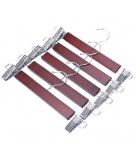 J.S. Hanger Walnut Wood Skirt Hangers, Wooden Pants Hangers with Chrome Hardware, Walnut hardwood Hanger, 5-Pack