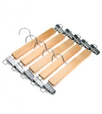 J.S. Hanger Natural Wood Skirt Hangers, Wooden Pants Hangers with Chrome Hardware, Natural Hardwood Hanger, 5-Pack