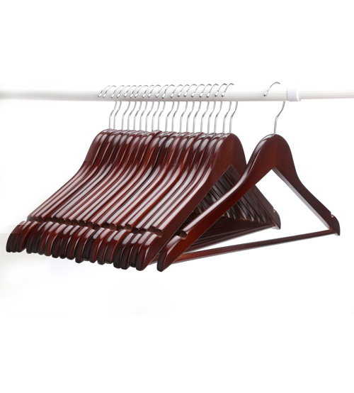 J.S. Hanger Multifunctional High-Grade Solid Wood Suit Hangers, Coat Hanger with Round Bar, Walnut Finish, 20-Pack