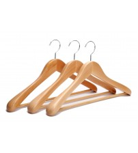 J.S. Hanger Extra Wide Rounded Shoulders Wood Coat Hanger with Rib Bar Suit Hanger and Polished Chrome Hook, Natural Finish,3-pack