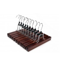 J.S. Hanger Solid Wooden Collection Slack Hanger, Wood Skirt Hangers, Retro Finished, Set of 10