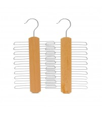 J.S. Hanger Natural 20-Ties/Belts Wood Hanger, Beech Wood Tie Hanger, Wooden Multifunctional Accessories Hanger, Chrome Hardware, 2-Pack
