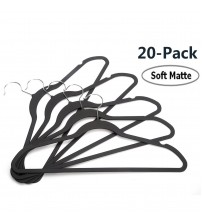 J.S. Hanger Durable Soft Matte Skirt/Dress Hanger, Space-Saving Coat Hangers, Non-Slip and Durable, Black, Set of 20