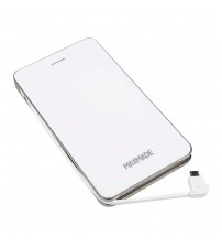 """MAXMADE® Built-In-Cable 9000mAh Power Bank Ultra-Slim Portable External Battery for iPhone iPad iPod Touch Samsung Galaxy Android Smartphone Tablets and Other 5V Charged Devices (White) (Dimensions: 5.94"""" x 3.21"""" x 0.59"""" Inch)"""