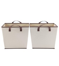 StorageManiac Foldable Square Storage Bin with Two Handles, Durable Open Storage Basket, Polyester Canvas