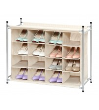StorageManiac 16 Compartment Shoe Cubby, 16-Pair Chocolate Shoes Organizer, 16-Cubby Shoe Storage