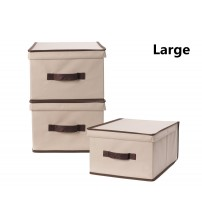 StorageManiac Pack of 3 Foldable polyester Canvas Storage Box, Convenient Storage Box with Lid, Large