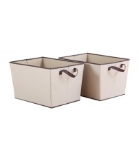StorageManiac Foldable Rectangular Storage Bin with Two Handles, Durable Polyester Canvas Open Storage Basket for Files, Clothing, and Accessories, Pack of 2