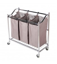 StorageManiac 3-Section Heavy Duty Laundry Hamper Sorter, Superior Steel Rolling Laundry Cart with Coating Frame