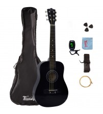 Trendy 30 Inch 1/2 Half Size Children Beginner Steel String Acoustic Guitar Package, Basswood, Black