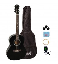 Trendy 38 Inch Acoustic Guitar Package, Basswood, Black