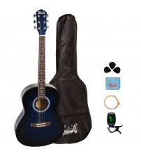 Trendy 38 Inch Acoustic Guitar Package, Basswood, Blue