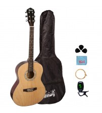 Trendy 38 Inch Acoustic Guitar Package, Basswood, Nature