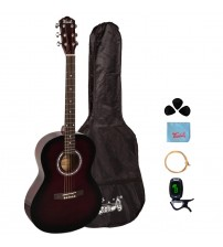 Trendy 38 Inch Acoustic Guitar Package, Basswood, Sunburst Gloss Finish
