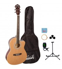 Trendy 38 Inch Spruce Top Dreadnought Acoustic Guitar, Nature