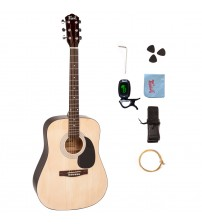 Trendy 41 Inch Full Size Dreadnought 6 Steel String Beginner Acoustic Guitar Package with Clip-On E-Tuner, Extra Strings, Strap, Picks and Polishing Cloth - Natural