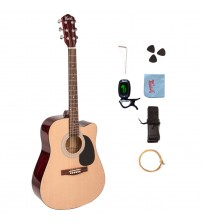 Trendy 41 Inch Full Size Cutaway 6 Steel String Spruce Beginner Acoustic Guitar Package with Clip-On E-Tuner, Extra Strings, Strap, Picks and Polishing Cloth, Natural