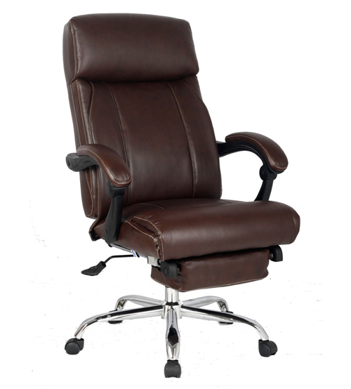 VIVA OFFICE® New High-back Ergonomic Brown Bonded Leather Swivel Recliner Napping Chair with Footrest, Adjustable Executive Managerial Office Chair with Padded Headrest and Armrest - VIVA08501-Brown