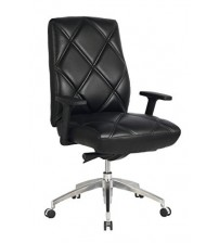 VIVA OFFICE Diamond Pattern High Back Bonded Leather Office Executive Chair Adjustable Armrest, Black - Viva0973