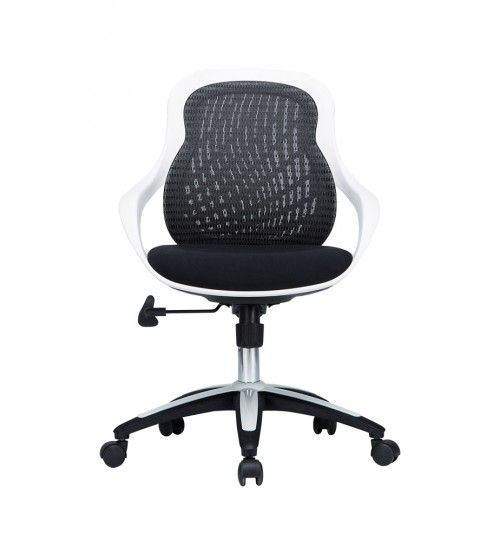 VIVA OFFICE Fashionable Mid-Back Mesh Office Task Chair with Adjustable Seat Height - Black and White - Viva1508F7