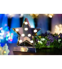 WED LED Light Marquee Star Shaped, Battery Operated LED Lighted Marquee Star Sign for Christmas and Festive Holiday Home Decor WEDPLBA8WJXLWW
