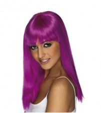 abHair Halloween & Costume Wig -  Long Bright Violet Colored Straight Wig