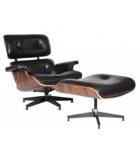 MCM Eames Style Lounge Chair & Ottoman Stool (Black) - Aniline Leather and Palisander Plywood