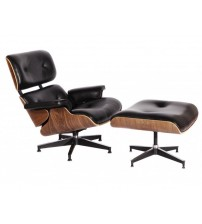 MCM Eames Style Lounge Chair & Ottoman Stool (Black) - Aniline Leather and Walnut Plywood