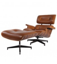 MCM Eames Style Lounge Chair & Ottoman Stool (Brown) - Aniline Leather and Palisander Plywood