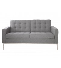 MCM Florence Knoll Loveseat Sofa 2 Seat, Light Grey Cashmere Wool - HS029LGF-2