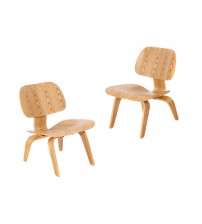 MCM Eames Style Molded Plywood Lounge Chair, Natural, Set of 2 - HS047NLW