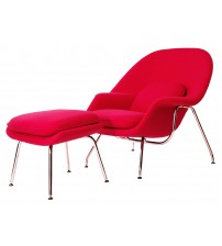 MCM Saarinen Style Womb Chair with Ottoman, Red - HS078RF