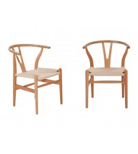 MCM Hans Wegner Wishbone Y-Style Side Chair, Solid Natural Beech, Set of 2 - HS825NWY